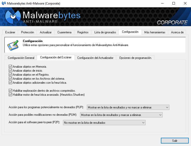 configuración del antivirus