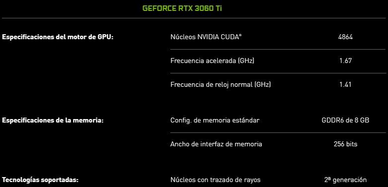 Especificaciones 3060TI para diseño gráfico y gaming