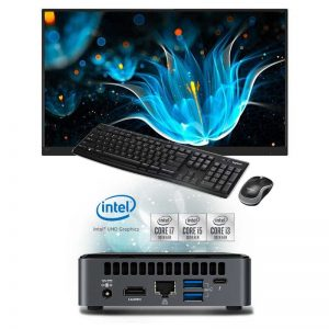 mini pc con teclado raton y monitor